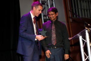 Matthew Kershaw gives the Chief Executive's Special Award to Dosto Mohammed at the recent Hospital Star Awards