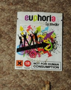 A packet of the legal high euphoria found at the flat of