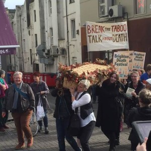 A coffin was carried through the streets as part of the Brighton Death Festival