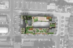An artist's impression of the proposed £80m Hove Gardens scheme, looking down from above