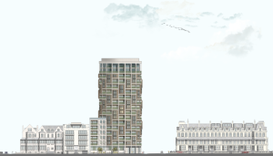 The proposed seafront tower block for the corner of Sackville Gardens and Kingsway in Hove