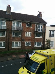 An ambulance outside the Park Crescent flats this afternoon. Picture by Steve Allen