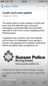 Sussex Police scam apology
