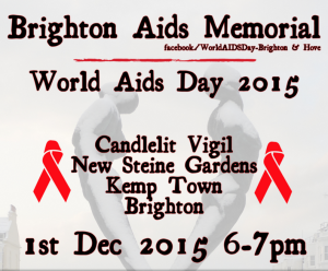 World AIDS Day flyer for the candlelit vigil at the Brighton AIDS Memorial 2015