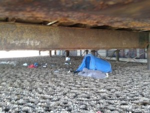 tents under the pier