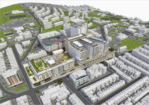 An artist's impression of an aerial view of the Royal Sussex site after the modernisation work is completed