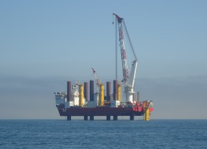 The first foundation installed at the Humber Gateway windfarm in 2013