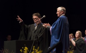 Adam Pearson collects the Alumnus Award from John Harvey, chairman of governors at Brighton University