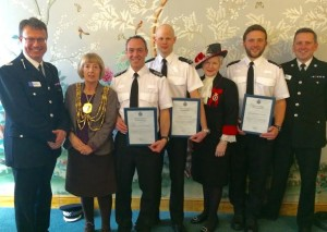 Assistant Chief Constable Robin Smith, Brighton and Hove Mayor Lynda Hyde, Sergeant Jonathan Hartley, PC Peter Swash, the High Sheriff of East Sussex Juliet Smith, PC Patrick Lewsey and Chief Superintendent Nev Kemp at the Sussex Police divisional awards