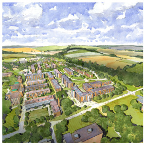 Architect's impression Aerial of new campus village from south