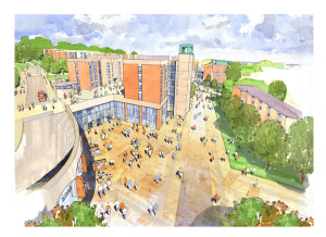 Architect's impression View of the new Students' Union facilities looking south down Refectory Road