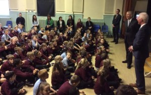 Prince Andrew visited the City Academy Whitehawk and told the children in assembly: 'I'll be back!'
