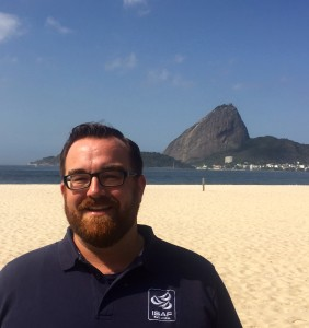 Alan Baser at last year's Aquece Rio Olympic Test Event, with the iconic Sugar Loaf Mountain as backdrop.