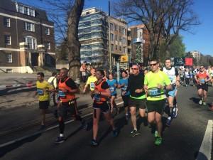 Brighton Marathon runners heading down Preston Road