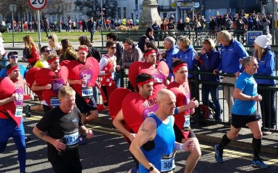 Brighton Marathon runners make their way along York Place. Picture by Thomas Rush