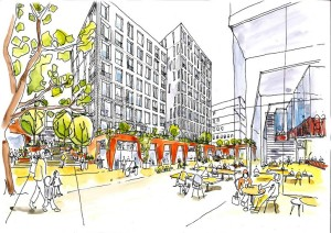 A sketch of a a proposed public space on the redevloped Preston Barracks site
