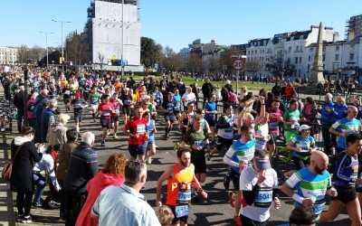 Brighton Marathon runners heading past St Peter's Church. Picture by Tom Rush
