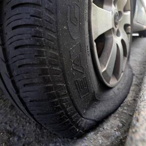 slashed tyre