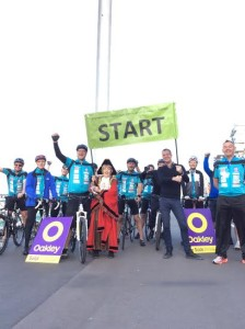 At the start of the first Mayor's Charity Bike Ride - from the i360 in Brighton to the Eiffel Tower in Paris