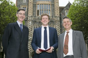 Jacob Rees-Mogg MP with Fred Dimbleby and Matthew Parris at Brighton College - Picture by David McHugh