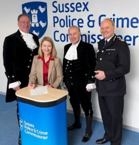 Katy Bourne with high sheriffs Mark Spofforth and Michael Foster with Chief Constable Giles York