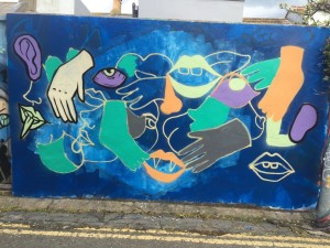 The uncompleted mural in Trafalgar Lane