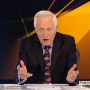 David Dimbleby fronted the BBC live coverage of the EU referendum in a tie from Brighton tailor Gresham Blake