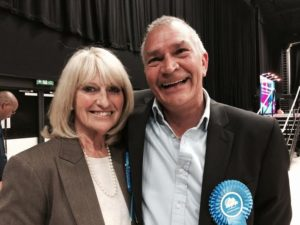 Councillor Dee Simson on her re-election last year with fellow Woodingdean councillor Steve Bell