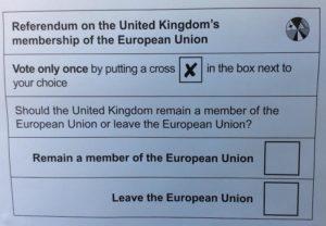 EU referendum ballot paper 23 June 2016