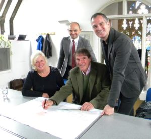 From left, Councillor Denise Cobb, Tom Shaw, from Hyde, Guy Goodman, from architects HGP, and Peter Kyle MP