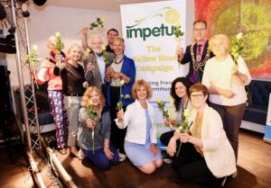 Staff and volunteers from Impetus join Brighton and Hove mayor Councillor Pete West at the start pf the Yellow Ribbon Campaign aimed at tackling loneliness – Picture by Simon Dack / Vervate