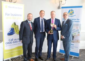 Sir Geoff Hurst with Rockinghorse chief executive Ryan Heal and Scott Gair and Jason Edge from Mayo Wynne Baxter at the Best of British sportin legends lunch on behalf of the Rockinghorse children's charity
