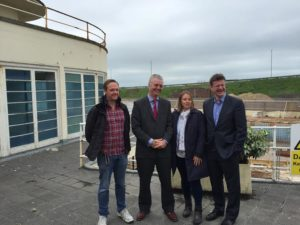 From left, Deryck Chester, Simon Kirby, Rebecca Crook and Greg Clark at the Saltdean Lido