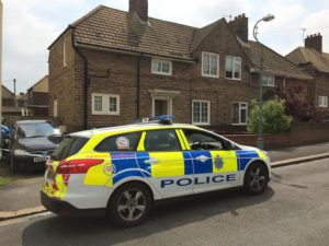 Police were still on the scene in St Nicholas Road 24 hours after the stabbing yesterday