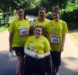 Katie Fant and her sisters in Hove Park for the Big Fun Run