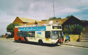 Brighton and Hove open top bus 819_Max_Miller_Dennis_Trident_East_Lancs_Lolyne_T819_RFG_in_Devils_Dyke_1_August_2003