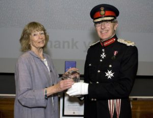 Long-serving Impetus volunteer Annie Robinson with Lord Lieutenant Peter Field