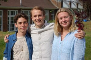 Varndean College international baccalaureate students Odhran O'Donoghue, left, Jacob Page and Olivia Wynne Thomas