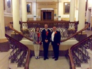Newly elected councillor Lloyd Russell-Moyle with ward colleagues Gill Mitchell and Warren Morgan in Brighton Town Hall