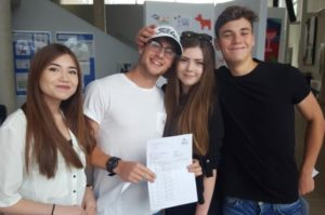 Amy Connacher, Megan Woodford, Gus Simon and Jamie Piper celebrate their A-level results