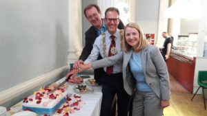 BHT chief executive Andy Winter, Brighton and Hove mayor Pete West and Sussex police and crime commissioner Katy Bourne celebrate 250 years of St Stephen's Hall, home of the First Base Day Centre