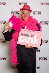 Simon Kirby shows his support for Wear it Pink in aid of the charity Breast Cancer Now
