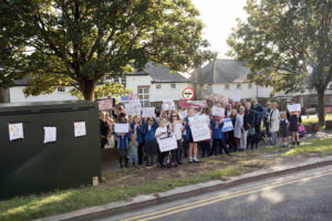 80 strong protest at the location of where a Vodafone phone mast is being errected despite the local council refusing the application it got through because the councils response was delayed. Opposite 58 Warren Road, Woodingdean, Brighton