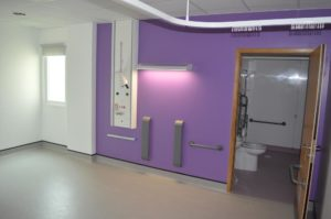 One of the new single en suite rooms in the temporary Courtyard Building at the Royal Sussex County Hospital in Brighton