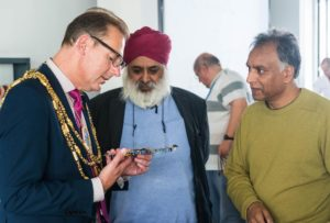 Brighton and Hove Mayor Pete West with Dr Deshinder Singh Gill and Dr Steve Singh at Brighton University