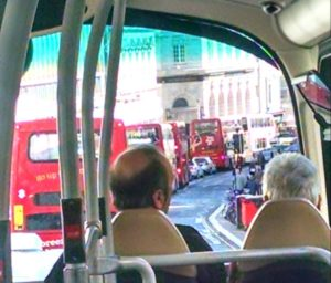 A queue of buses in North Street after roadworks caused congestion last week