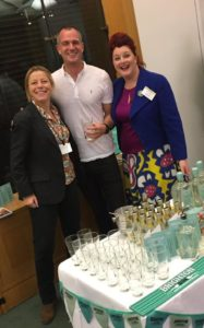 Peter Kyle with Kathy Caton, left, and Helen Chesshire from Brighton Gin