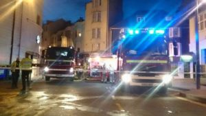Fire crews in Pool Valley, Brighton, last night - picture by Rebecca Bunker