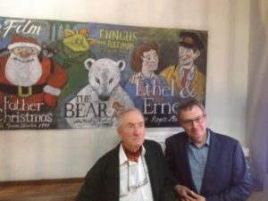 Raymond Briggs at Dukes at Komedia with Ethel and Ernest director Roger Mainwood in front of the montage by Nina Cornwall