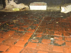 A filthy floor directly underneath the main food preparation counter